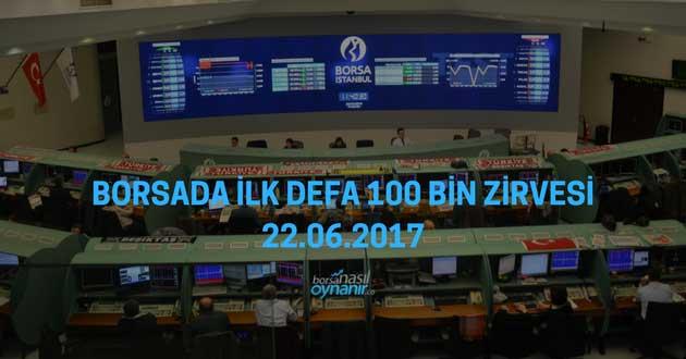 Borsada İlk Defa 100 Bin Zirvesi – 22.06.2017
