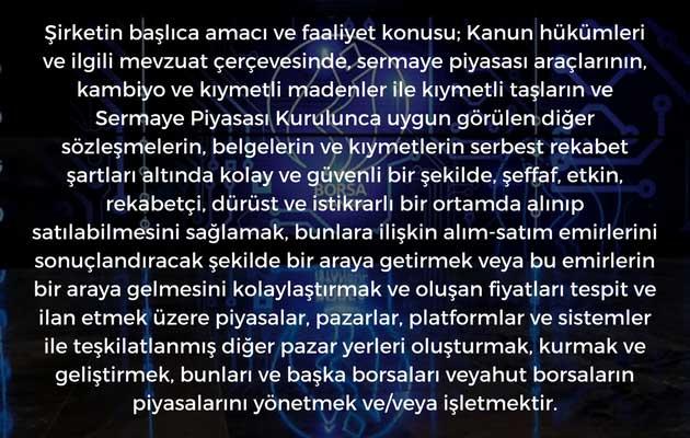 Borsa İstanbul Esas Sözleşmesinde Amaç
