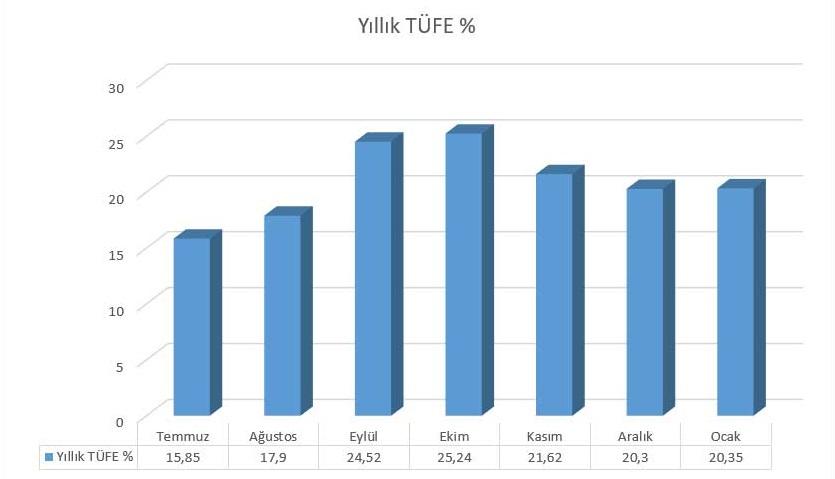 Türkiye 2018 Temmuz - 2019 Ocak TÜFE Değişimi