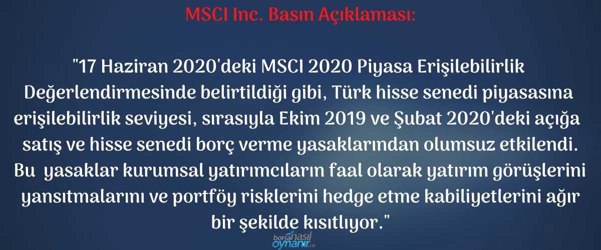 MSCI Inc. Basın Açıklaması