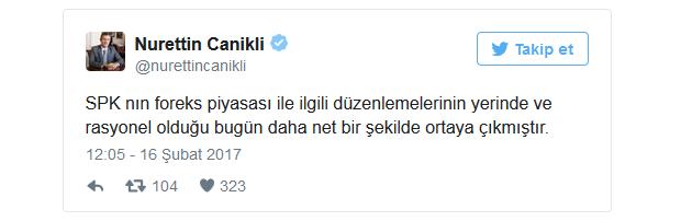 Nurettin Canikli Forex Piyasasını Bitiren Tweeti