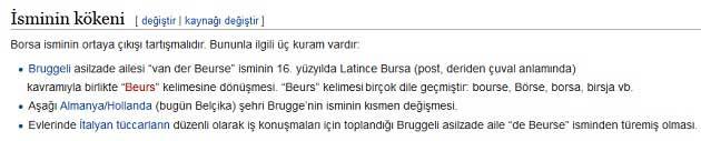 Vikipedi Borsa İsminin Kökeni