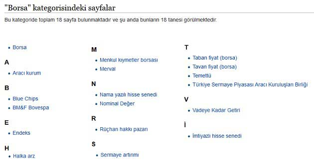 Vikipedi Borsa Kategorisinde Yer Alan Sayfalar