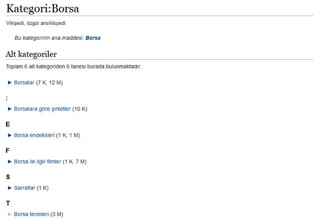 Vikipedi Kategori Olarak Borsa ve Alt Kategorileri